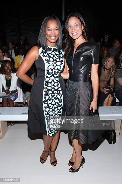 Garcelle Beauvais and Cristen Barker attend Pamella Roland during MercedesBenz Fashion Week Spring 2015 at The Salon at Lincoln Center on September 9...