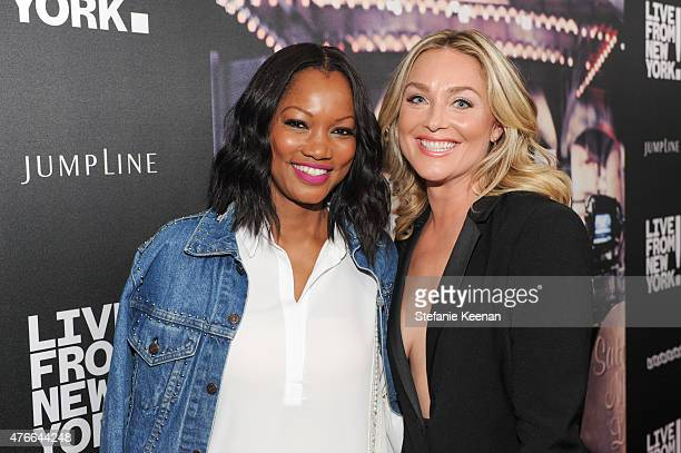 Garcelle Beauvais and Elisabeth Rohm attend the 'Live From New York' Los Angeles premiere at Landmark Theatre on June 10 2015 in Los Angeles...