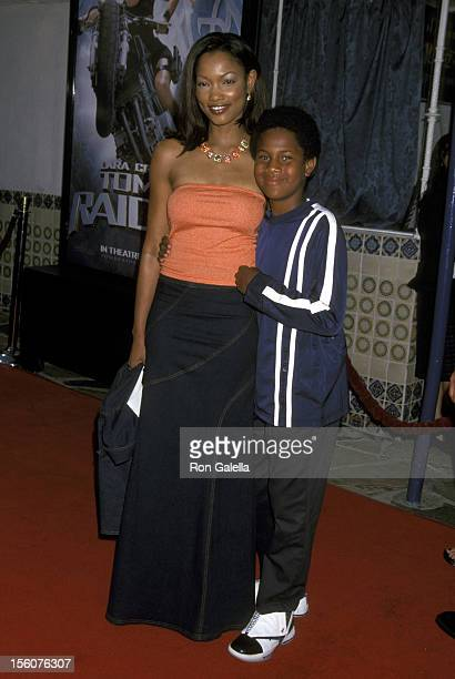 Garcelle Beauvais and Son Oliver Saunders during 'Lara Croft Tomb Raider' Los Angeles Premiere at Mann's Village Theater in Westwood California...