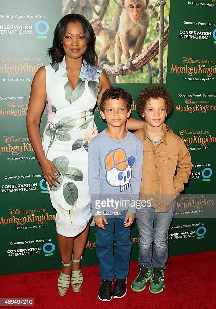Garcelle Beauvais and sons Jaid Thomas Nilon and Jax Joseph Nilon attend the world premiere Of Disney's 'Monkey Kingdom' at Pacific Theatres at The...
