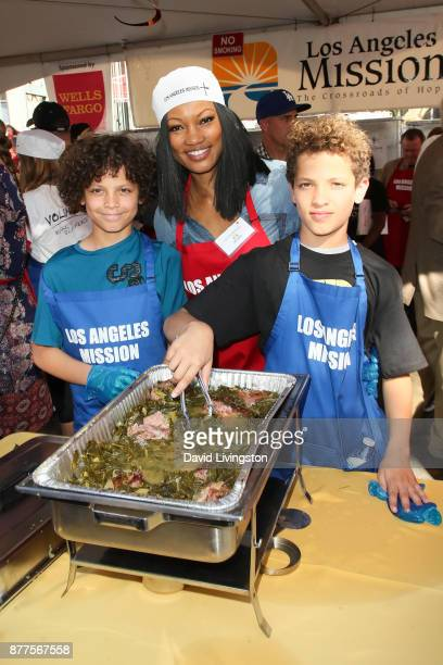 Garcelle Beauvais Jax Nilon and Jaid Nilon are seen at the Los Angeles Mission Thanksgiving Meal for the homeless at the Los Angeles Mission on...