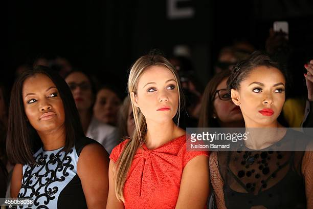 Garcelle Beauvais Katrina Bowden and Kat Graham attend the Pamella Roland fashion show during MercedesBenz Fashion Week Spring 2015 at The Salon at...