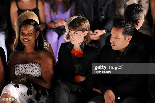 Garcelle Beauvais model Coco Rocha and husband James Conran attend the Dennis Basso fashion show during MercedesBenz Fashion Week Spring 2015 at The...