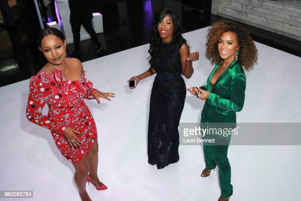 Garcelle Beauvais Sevyn Streeter and Serayah McNeill cutting it up on the dance floor at the 2018 BET Awards Debra Lee PreBET Awards Dinner at...
