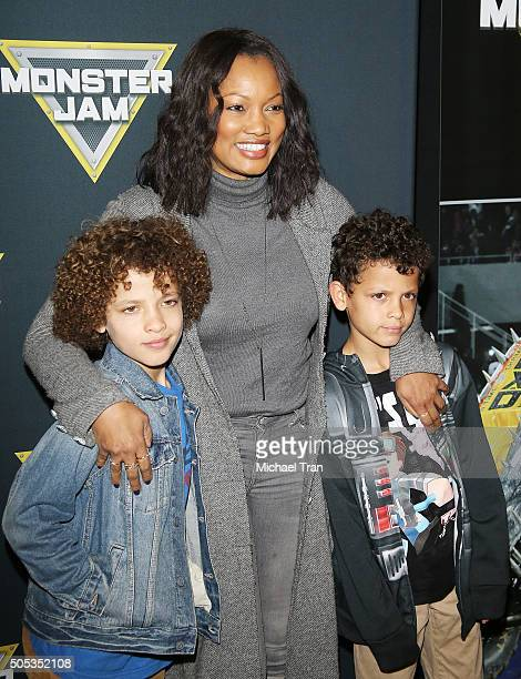 Garcelle Beauvais with her sons' Jax Joseph Nilon and Jaid Thomas Nilon attend the 2016 Monster Jam held at Angel Stadium of Anaheim on January 16...