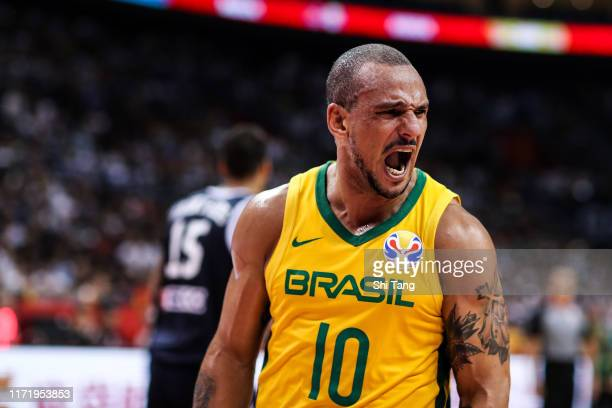 Garcia Alex of Brazil reacts during 2nd round Group F match between Greece and Brazil of 2019 FIBA World Cup at Nanjing Youth Olympic Sports Park...