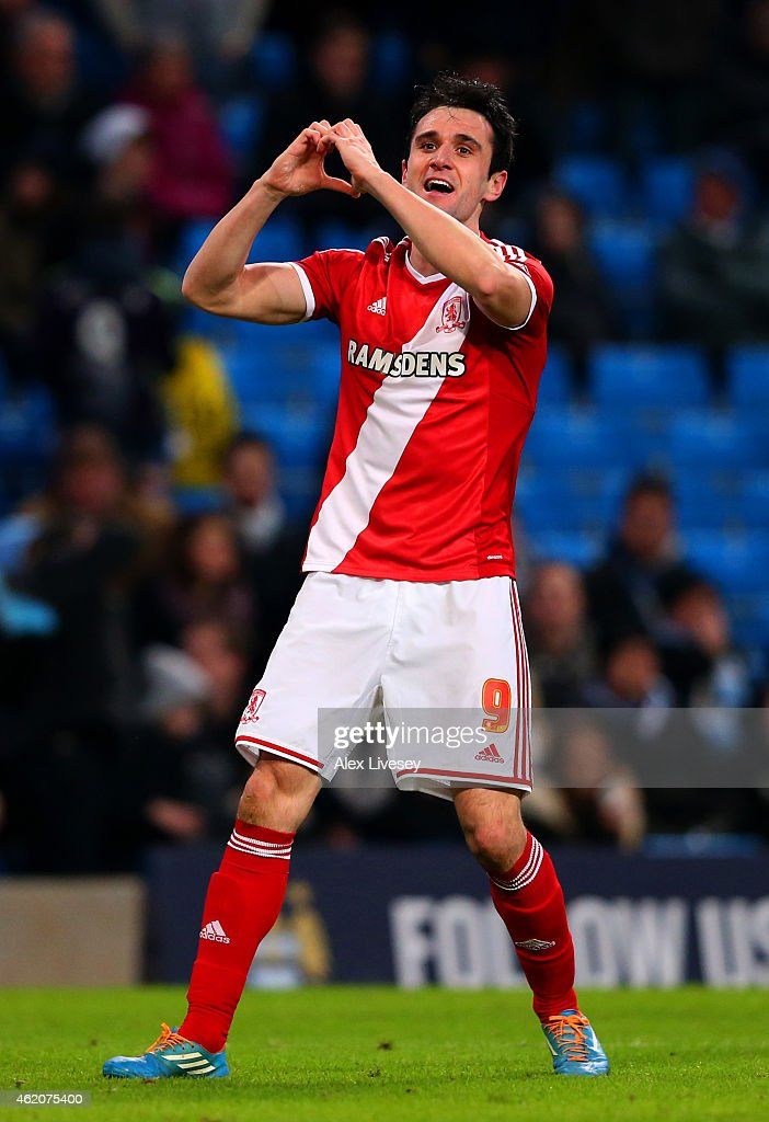 Garcia Kike of Middlesbrough celebrates after scoring his team's second goal during the FA Cup Fourth Round match between Manchester City and Middlesbrough at Etihad Stadium on January 24, 2015 in Manchester, England.