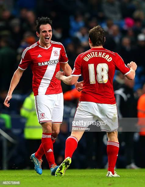 Garcia Kike of Middlesbrough celebrates with teammate Dean Whitehead after scoring his team's second goal during the FA Cup Fourth Round match...
