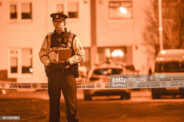 Garda at the scene in Kilclare Crescent in Jobstown where a 17 year old teenager has been stabbed to death The scene of the stabbing has been sealed...