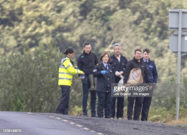 Garda at the scene in North Donegal in which three people lost their lives in an accident when a car entered the river Foyle near Quigley's Point in...