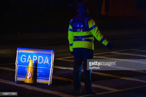 Garda checkpoint on Sean Moore Road in Dublin during Level 5 Covid-19 lockdown. On Thursday, 21 January in Dublin, Ireland.