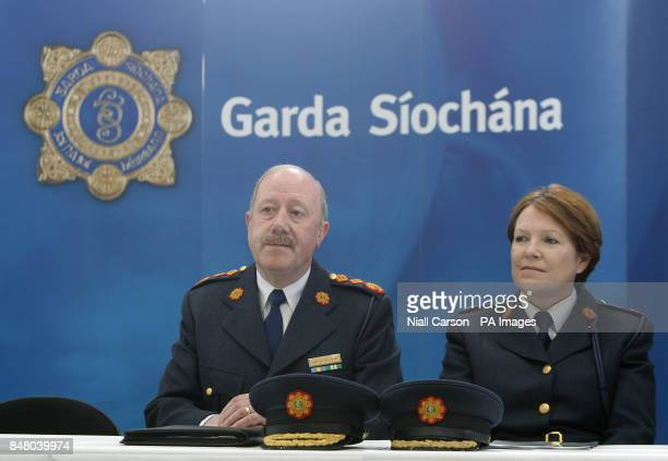 Garda Commissioner Martin Callinan and Deputy Commissioner Noirin O'Sullivan at the launch of the The Child Rescue Ireland Alert systerm at garda...