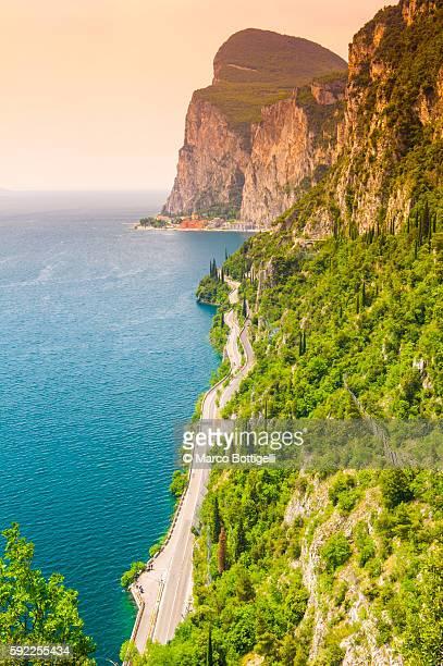 Garda lake, Lombardy, Italy. Coastal road.