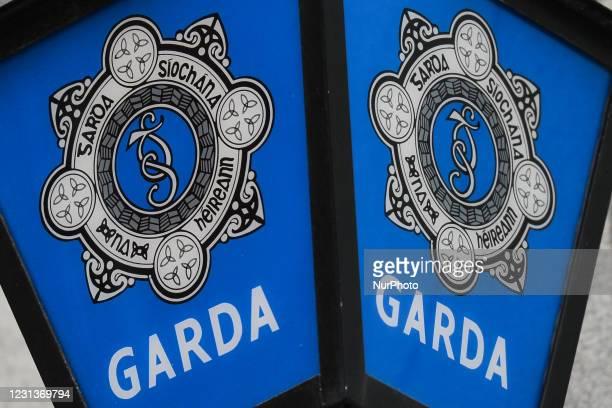Garda Lamp with a Garda Siochana logo seen outside Kevin Street District Garda Station in Dublin city center during Level 5 Covid-19 lockdown. On...