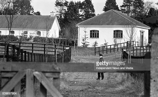 A Garda Officer on duty in the grounds of Ballymany Stud Farm Newbridge County Kildare where the horse Shergar was taken from 283292