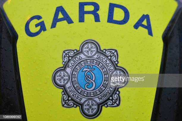 Garda Siochana logo seen on the Irish President Escort of Honour moto who arrived ahead of the centenary commemoration taking place in the Mansion...