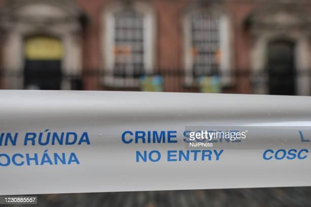 Garda Siochana tape reading 'Crime Scene - No Entry', seen in Temple Bar area of Dublin, during Level 5 Covid-19 lockdown. On Saturday, 30 January in...