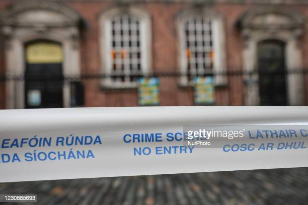 Garda Siochana tape reading 'Crime Scene - No Entry', seen in Temple Bar area of Dublin, during Level 5 Covid-19 lockdown. On Saturday, 30 January in...