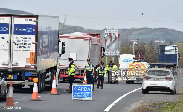 Gardai police officers man a checkpoint on the border between the Republic of Ireland and Northern Ireland as they check for non essential travel...