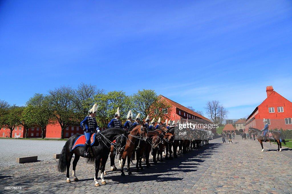Gardehusarer at Copenhagen Citadel / Kastellet in København : Stock Photo