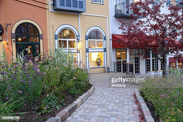 garden and boutique stores in mont tremblant resort - mont tremblant stock pictures, royalty-free photos & images
