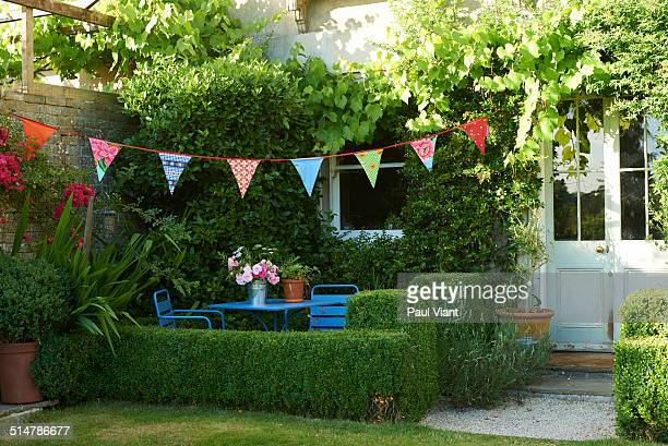 Garden and bunting in summer