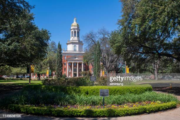 garden and pat neff hall in baylor university - waco stock pictures, royalty-free photos & images