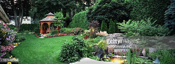 garden at night - landscaped stock pictures, royalty-free photos & images