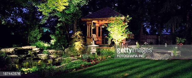 garden at night - show garden stock photos and pictures