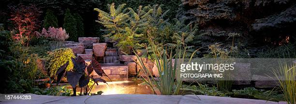 garden at night - pond stock pictures, royalty-free photos & images