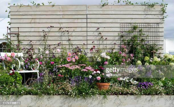 A garden border display that forms part of the Creative Spaces exhibition during staging day for the Harrogate Autumn Flower Show on September 12...