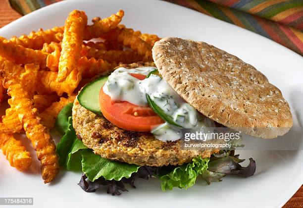 Garden Burger with sweet potato french fries