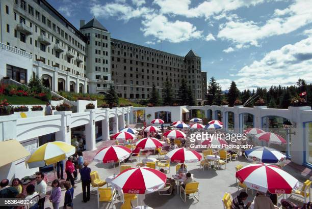 garden cafe at chateau lake louise, canadian rockies - chateau lake louise stock pictures, royalty-free photos & images