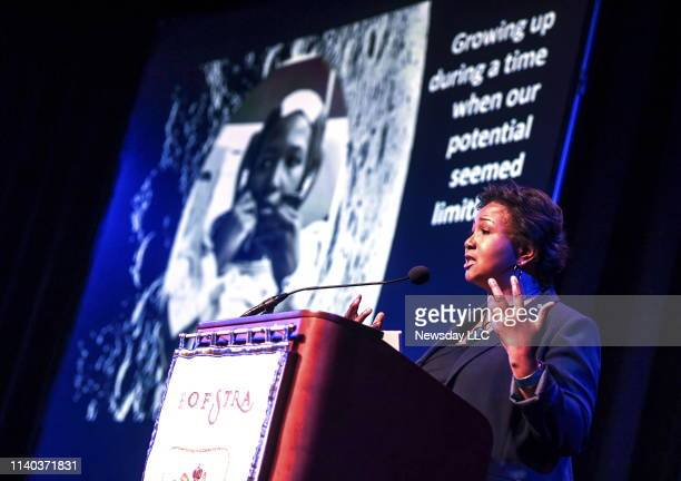NASA Astronaut Dr Mae C Jemison the first woman of color to go into space speaks during a conference titled One Giant Leap Apollo 11 @ 50 on the...