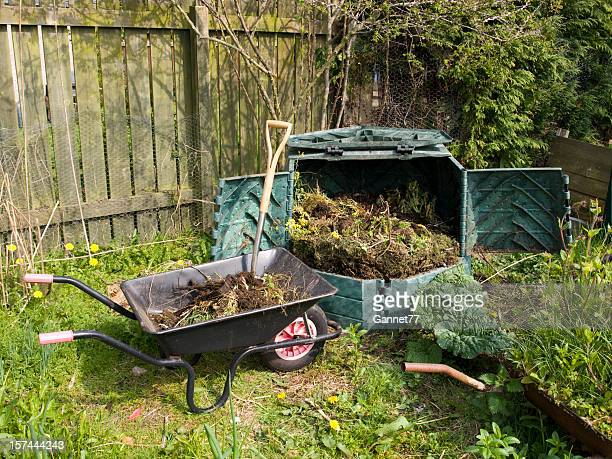 Garden Compost Bin and Wheelbarrow
