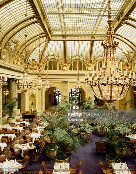Garden Court dining room at the Sheraton Palace Hotel in San Francisco California