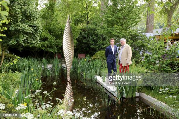 Garden designer Andrew Duff and sculptor David Harber attend 'The Savills and David Harber Garden' which celebrates the environmental benefit and...