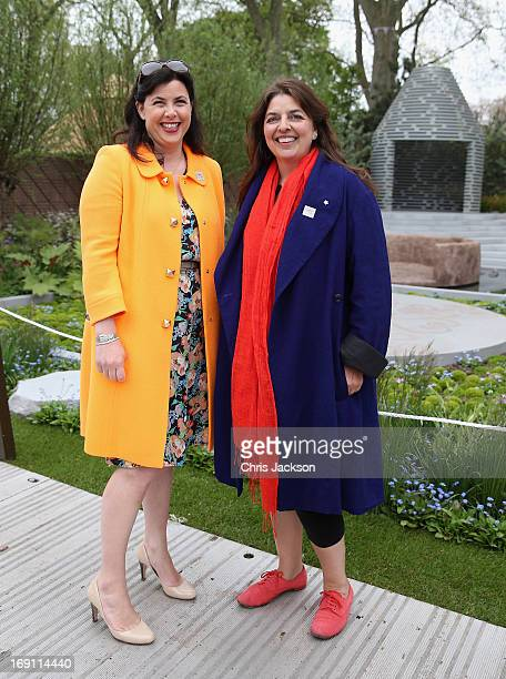 Garden designer Jinny Blom and Kirstie Allsopp in the BQ Sentebale 'ForgetMeNot' Garden at the Chelsea Flower Show at Royal Hospital Chelsea on May...