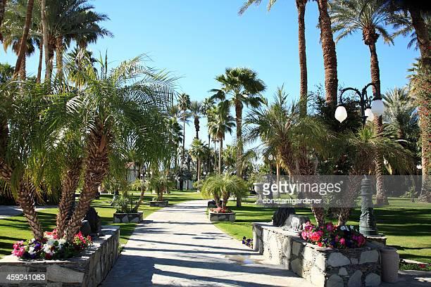 garden entrance to polo grounds indio california - indio california stock photos and pictures