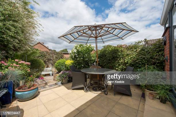 garden exteriors - furniture stock pictures, royalty-free photos & images