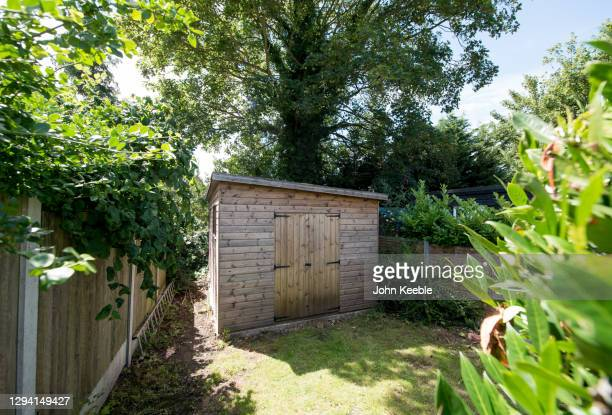 garden exteriors - wood material stock pictures, royalty-free photos & images