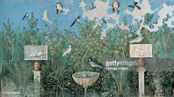 Garden. Fresco from The House of the Golden Bracelet , 1st H. 1st cen. AD. Found in the Collection of Museo Archeologico Nazionale di Napoli. Artist...