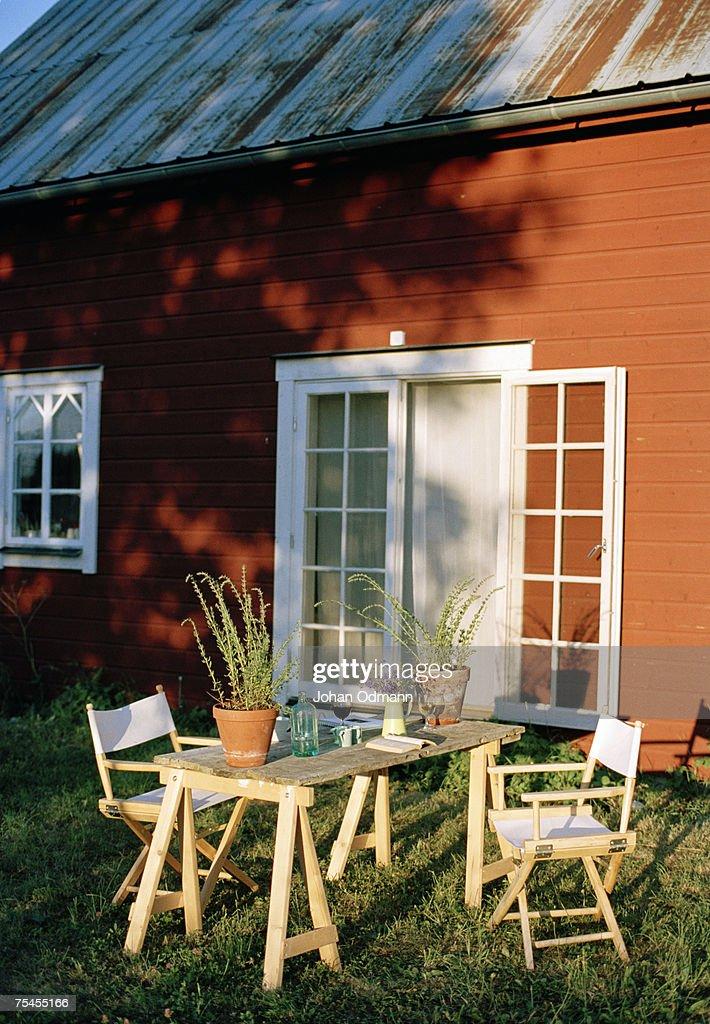 Garden furniture in a garden. : Stock Photo