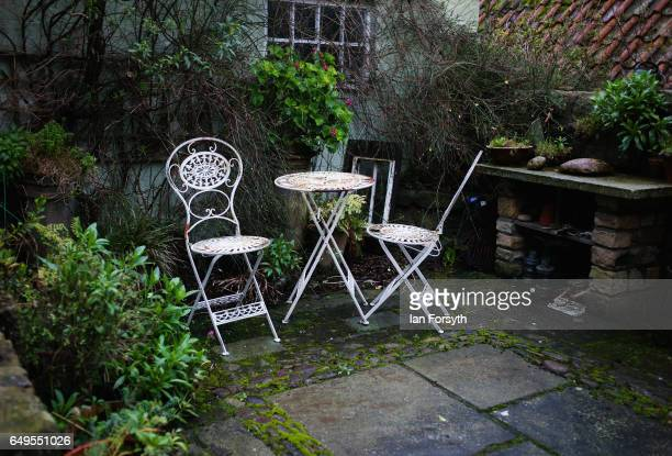 Garden furniture is left in a small garden at a home in Robin Hood's Bay on the North Yorkshire coast on March 8 2017 in Robin Hood's Bay United...