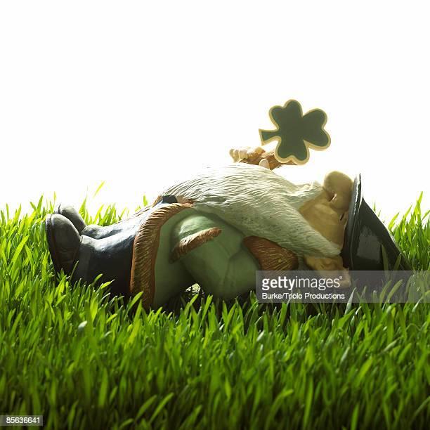 Garden gnome lying down in grass