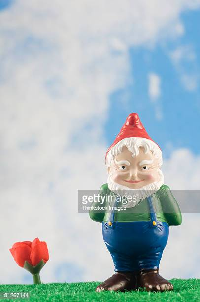 Garden gnome with flower