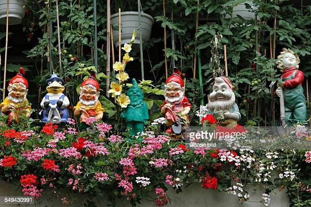 Garden Gnomes on a balcony, Munich, Germany