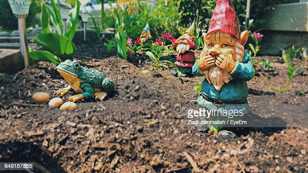 Garden Gnomes On Dirt In Back Yard