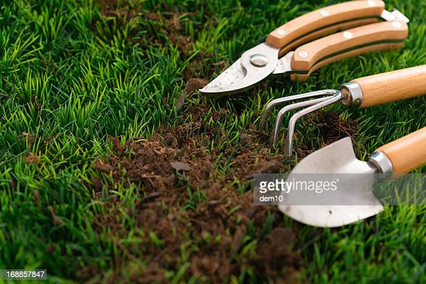 garden hand tools - pruning shears stock photos and pictures