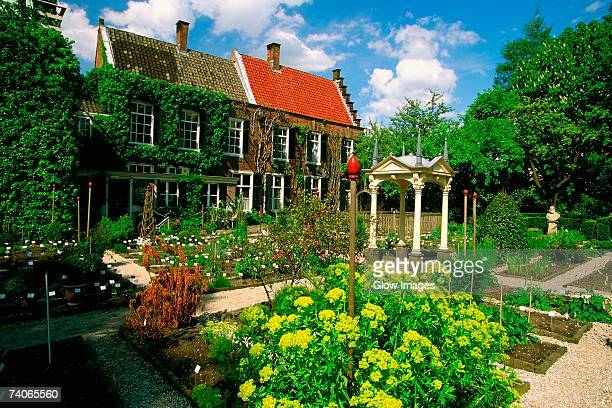 Garden in front of a building, Botanical Garden, Leiden University, Leiden, Netherlands
